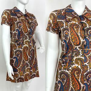 VINTAGE 60s 70s WHITE BLUE ORANGE PSYCH PAISLEY FLORAL DAGGER SHIRT DRESS 16 18