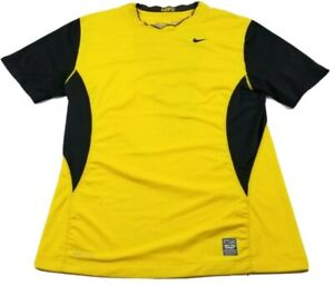 Nike Pro Combat Fitted Compression Workout Shirt Short Sleeve Mens Medium Yellow