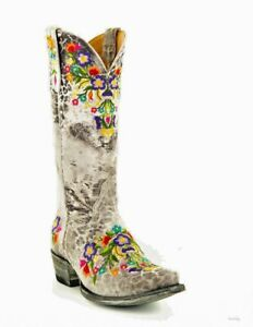 """L 841-42 OLD GRINGO SORA GRAY LEOPARDITO MULTI EMBROIDERED 13""""  LEATHER BOOTS"""