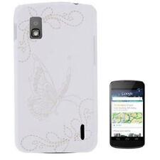 Hardcase Butterfly Pattern für LG E960 Google Nexus 4 in weiß Etui Schutzhülle