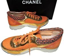 CHANEL  NEW Gold Tweed Orange  Runway Trainers Sneakers  Sz 42/US 11 $1350