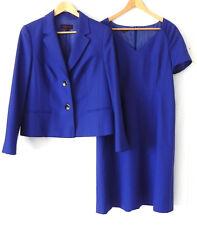 Escada Dress Suit 100% Wool Royal Blue 2 Button Blazer Knee Length Dress Size 40