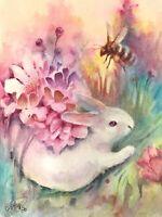 Original painting Rabbit Bunny Bumblebee Art listed by artist Artettina USA