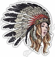 "Native American Chief Indian Girl Gift Idea Car Bumper Vinyl Sticker Decal 4.6"""