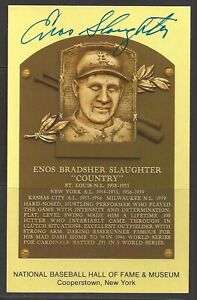 Enos Slaughter Autograph on HOF Plaque