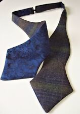 Scottish Tweed Wool Check Self tie Bow tie/Liberty print lining