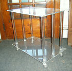"""Mid Century Modern Clear Lucite Coffee Table Casters Columns Regency 26"""" x 24"""""""