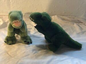 LOT of 2 Vintage 80's Dakin Stuffed Green Plush Dragon Dinosaur T-Rex Lizard