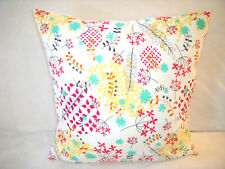 Handmade Pillow Cover Flowers Red Yellow Turquoise Brown Black White Boho Decor