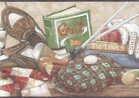 Wallpaper Border Golf and Golfing Memorabilia, Clubs Tees Balls Shoes