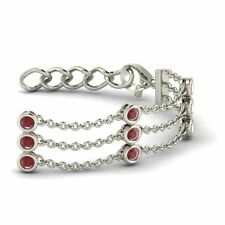 Certified 2.90 TCW Natural Round Ruby Chain/Link Bracelet 14K Solid White Gold