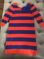 NWT JULIE BROWN Blue Red Stripe Bow Shift Sweater Dress Cotton Blend M S 6 8