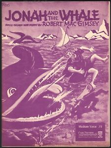 Jonah and the Whale 1938 Sheet Music
