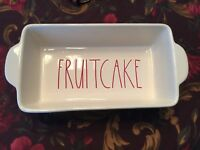 New Rae Dunn By Magenta Christmas FRUITCAKE Baking Dish Loaf Pan Red Letters