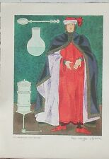 16th Century Physician Color Print by Warja Honegger-Lavater 1962