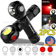 2PCS 360° Rotation USB Rechargeable COB+LED Emergency Worklight Magnetic Torch