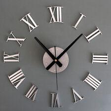 Metallic DIY Wall Clock 3D Roman Numerals Stickers Home Decor Art Modern Clock