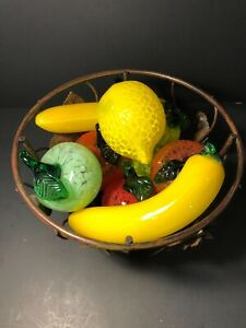 Italian Murano Style Hand Blown Glass 13 Pcs. Fruit & Vegetable & Wire Basket
