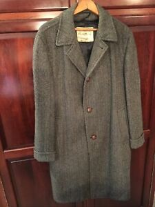 "VTG Harris Tweed Men's 42"" Long Overcoat Handwoven Scottish Top Coat 100% Wool"