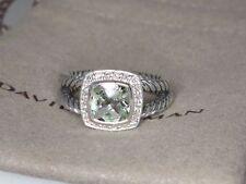 David Yurman Petite Albion Ring With Prasiolite And Diamonds Size 8