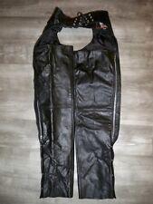 Womens Silver Bike Black Leather Riding Chopper Motorcycle Chaps Pants Size XXXS