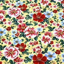 Red & Metallic Gold Etched Asian Floral by Kona Bay, Cotton Fabric Per Yard