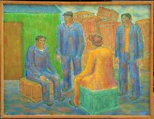 Arbeider im Gespräch. Ölgemälde. Verzeichneter Künstler. Listed Artist