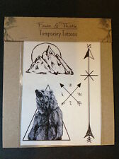 Body art temporary tattoos Wanderlust bear, arrows, compass, fashion gift