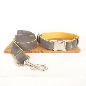 Dog Collar And Lead Set Grey & Yellow Design Pet UK Seller DC5