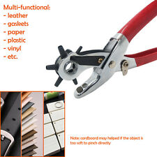 Professional Leather Hole Punch Pliers HEAVY DUTY Belt Holes Revolving Hand NEW