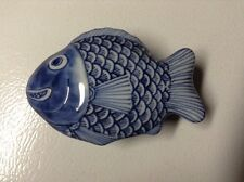 Vintage Japanese Porcelain Cobalt Blue Fish Trinket Bowl With Lid. By FF