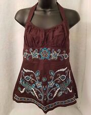 Heart Soul NWOT Woman's Brown/Blue/White Floral Halter Top Shirt Size L