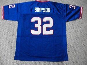 O.J. SIMPSON Unsigned Custom Buffalo Blue Sewn New Football Jersey Sizes S-3XL