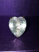 Gems En Vogue 37.05ctw Heart Shaped White Quartz & Yellow Sapphire Ring Size 5