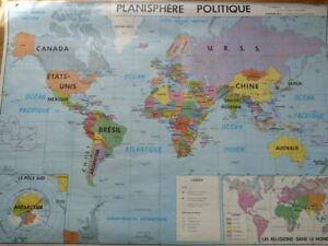 CARTE SCOLAIRE MDI Plastifiée réversible Planisphère politique et physique (1977