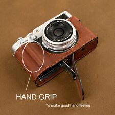 For FUJIFILM X100V Handmade Genuine Leather Half Camera Bag Cover With hand Grip