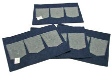 Place Mats Blue Jean Denim 13x18 With Pockets Set of 4 with Pockets by Manual WW