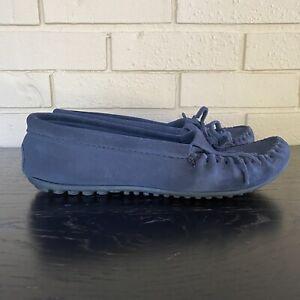 Womens MINNETONKA KILTY Moccasin Style Driving Mocs Shoe Size 9.5 M Navy