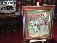 Early 1900's Frank Petkovsek Saloon of Waukegan IL Framed Store Litho Ad