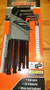 Imbus Schlüsselsatz 13 teilig / Cr-V Material / Kugelkopf / 1,27-10mm