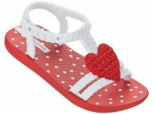 Ipanema Heart Baby My First Sandals Infant Girl Flip Flops Red White UK Size 6 K