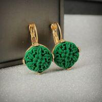 Earrings Sleeper Golden Round Pattern Jade Engraving Green Resin Retro X21