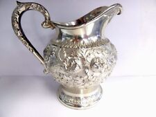 Antique S KIRK & SON Repousse 925/1000 Sterling Silver Pitcher / Creamer # 474F