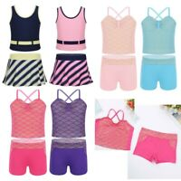 Kids Girls 2PCS Tankini Swimwear Tops+Stripe Skirt Bathing Suit Mermaid Swimsuit