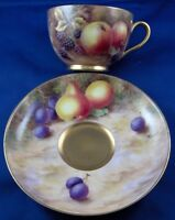 Superb 20thC Worcester Porcelain Fruit Scene Cup & Saucer English England Scenic