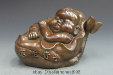 China Bronze copper Lucky Feng shui lotus flower give birth Boy child statue
