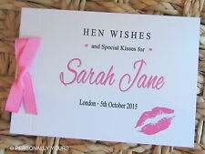 PERSONALISED HEN NIGHT. MESSAGE BOOK . GUEST BOOK . LIPS . KISS