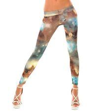 Señora leggins Tights Skinny pantalones con galaxy Print en azul marrón 36