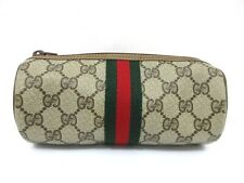 Authentic GUCCI Old Gucci Pouch PVC Leather Beige Brown PVC Leather 78582