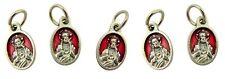 Red Enamel Sacred Heart Jesus Pray for Us Charm Medal, Set of 5, 5/8 Inch